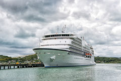 Big cruise ship, white luxury yacht in sea port, Antigua Royalty Free Stock Photo