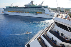Big Cruise Ships in Cozumel, Mexico Stock Photography