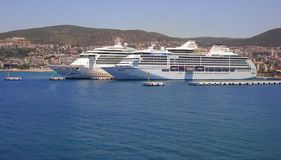 2 big cruise ships docked in Kusadasi, Turkey.  royalty free stock photo