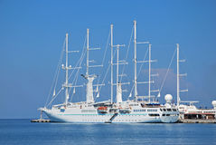 Big cruise yacht in the Mediterranean Sea Royalty Free Stock Photos