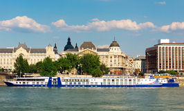 Big cruiser on the river. Danube in Budapest, Hungary Royalty Free Stock Image