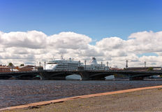 The big cruising liner on the Neva River.Petersbur Royalty Free Stock Image