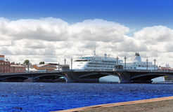 The big cruising liner on the Neva River. Petersburg. Royalty Free Stock Photo