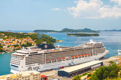 Big Cruising ship of the MSC Magnifica in Croatian town Dubrovnik Stock Photos