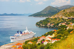 Big Cruising ship Orient Queen in Croatian town Dubrovnik Royalty Free Stock Photos