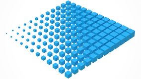 Big cube scructure dissolving to small cubes. 3d style vector illustration. Suitable for any banner, ad, technology, big data and abstract themes vector illustration