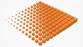 Big cube scructure dissolving to small cubes. 3d style vector illustration. Suitable for any banner, ad, technology, big data and abstract themes stock illustration