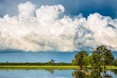 Cumulonimbus Clouds Over Flood Field. Big Cumulonimbus clouds over the flood field, rainy season in countryside of Thailand Stock Images