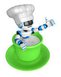 A big cup in the best blue chef robot gestures Royalty Free Stock Images