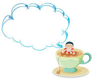A big cup with a boy swimming. Illustration of a big cup with a boy swimming on a white background Stock Images