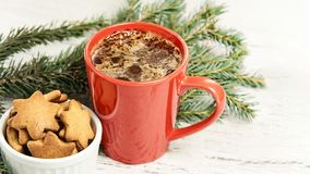 Big cup of coffee. Gingerbread Cookie. New Year. Christmas tree.  royalty free stock images