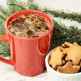 Big cup of coffee. Gingerbread Cookie. NewYear. Christmas tree.  royalty free stock photo