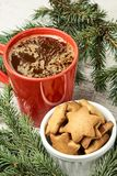 Big cup of coffee. Gingerbread Cookie. NewYear. Delicious recipe. White background stock photography
