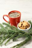 Big cup of coffee. Gingerbread Cookie. NewYear. Spruce branch. White background stock photography