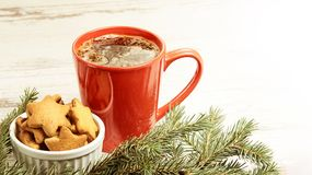 Big cup of coffee. NewYear. Gingerbread Cookie. Christmas tree.  royalty free stock image