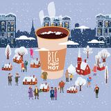 A big cup of coffee, people of men and women in winter, characters, in the Christmas and New Year holiday, small houses vector illustration
