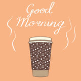 Big cup of coffee with  wishes Good morning. Vector illustration Stock Photos