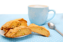The big cup of hot beverage with cookies Stock Image
