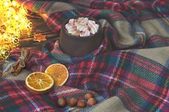 Big cup of hot cocoa with marshmallow, cinnamon and dry orange and warm blanket on an old vintage wooden and Christmas light. Cozy Royalty Free Stock Photography