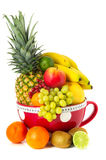 Big cup various fruit Royalty Free Stock Images