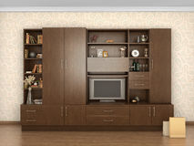 Big cupboard closed in interior with things; Stock Image