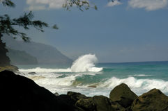 Big Curl on Kauai. A large wave curls back toward the ocean.  Mountains and foilage frame picture of aqua ocean Stock Image