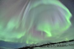 Big curtain Northern lights Stock Photo
