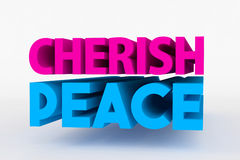 Big 3D bold text - cherish peace. Big 3D text on white background with soft shadow. Cherish peace in blue color on white Stock Images