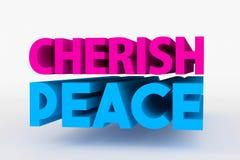 Big 3D bold text - cherish peace Stock Images