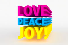Big 3D bold text - love peace joy Royalty Free Stock Image