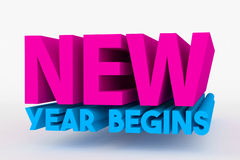 Big 3D bold text - new year begins Royalty Free Stock Photography