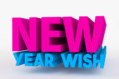 Big 3D bold text - new year wish Royalty Free Stock Photography