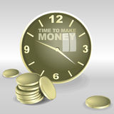 Big 3d clock with time to make money text. Reflection on the glass, big coins. Digital vector image Stock Photos