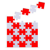 Big 3d puzzle with flying missing pieces Stock Photography