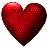 Big 3D red heart cover by black mesh. Ona white background Royalty Free Stock Image