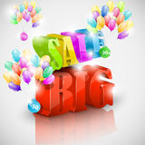Big 3D sale with colorful bubbles Royalty Free Stock Photo