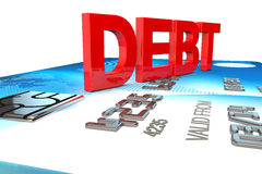 Big 3d word saying debt on a credit card Royalty Free Stock Images