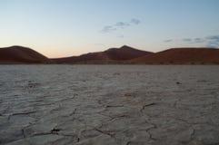 Big Daddy Dune in Dawn, Woestijnlandschap, Sossusvlei, Namibië Royalty-vrije Stock Afbeelding