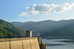 Big Dam with the mountain surrounded Royalty Free Stock Image