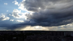 Big dark clouds above the city Royalty Free Stock Photo