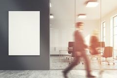 Dark gray office lobby, meeting room, people Royalty Free Stock Photo