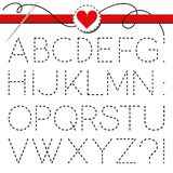 Big dark sewed letter set Stock Photos