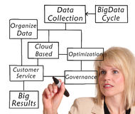 Big Data. Businesswoman in suit drawing a big data diagram stock images