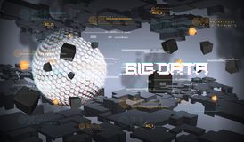 Big data abstract visualization. Futuristic aesthetic design. Big data background with HUD elements. Big data abstract visualization. Futuristic aesthetic Stock Images