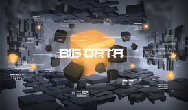 Big data abstract visualization. Futuristic aesthetic design. Big data background with HUD elements. Big data abstract visualization. Futuristic aesthetic Stock Photo