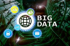 Big data analysing server. Internet and technology.  royalty free stock images