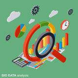 Big data analysis, business analytics, financial statistics vector concept. Big data analysis, business analytics, financial statistics flat isometric vector Royalty Free Stock Image