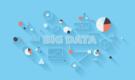 Big data analysis illustration. Flat design modern vector illustration concept of big data statistics and search analysis, complex process of advanced analytics stock illustration