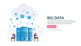 Big data and analysis processing concept landing page template. cloud database service, server center room rack with interacting. People character for banner stock illustration