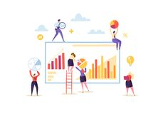 Big Data Analysis Strategy Concept. Marketing Analytics with Business People Characters Working Together with Diagrams. And Graphs. Vector illustration royalty free illustration